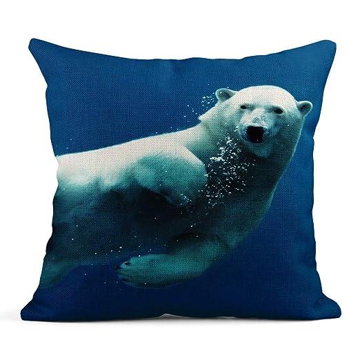 Kinhevao Cojín Azul Animal Natación Oso Polar Bajo el Agua ...