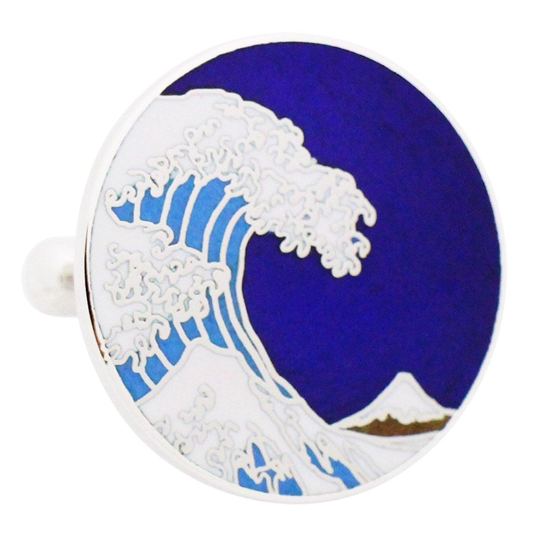 HOKUSAI WAVE CUFFLINKS - BLUE