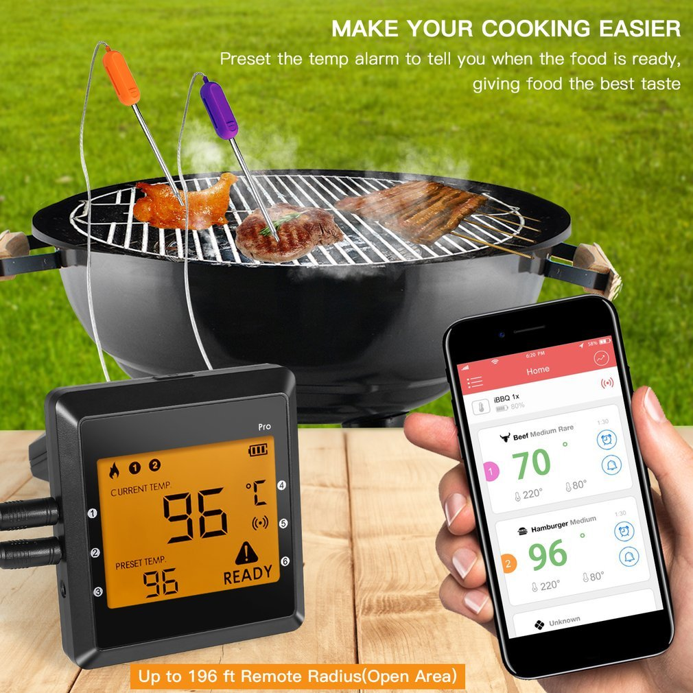 Termómetro de carne, nicehyacinth inalámbrico termómetro de cocina digital Lectura Instantánea, con 6 sondas para parrilla fumador barbacoa de cocina: ...
