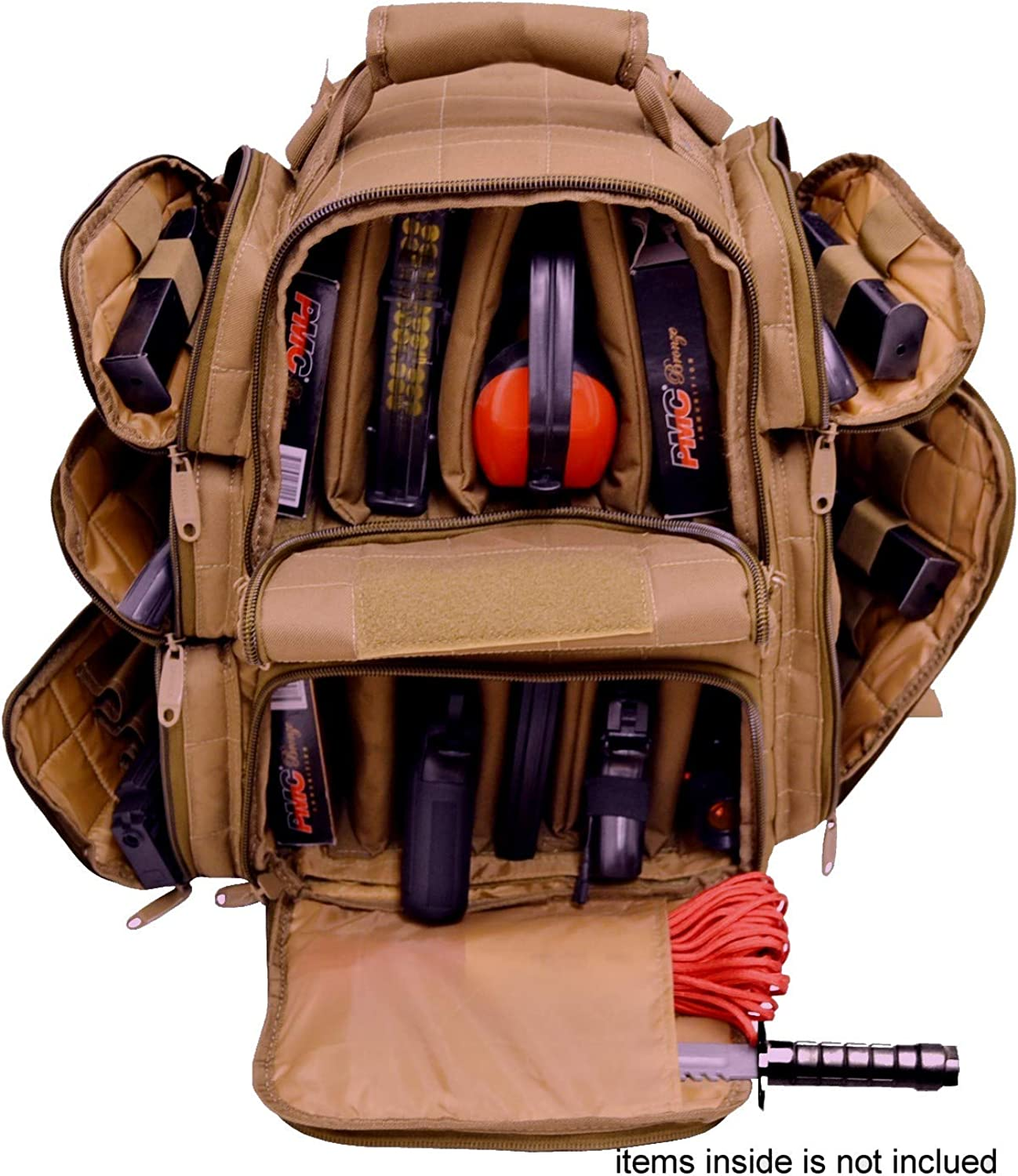 EXPLORER Backpack + Range Bag with Large Padded Deluxe Tactical Divider and 9 Clip Mag Holder - Rangemaster Gear Bag Explorer (Brown Color)