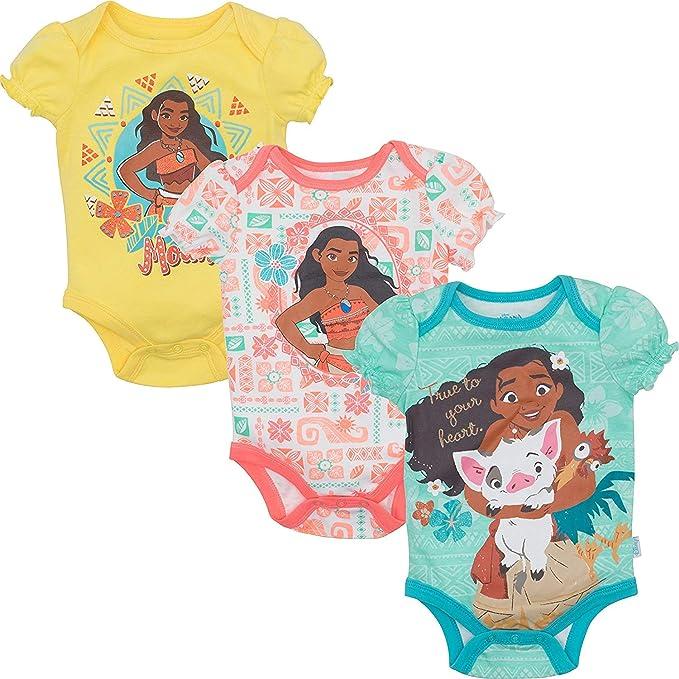 e4185ba5ec92 Disney Moana Newborn Infant Baby Girls  3 Pack Bodysuit