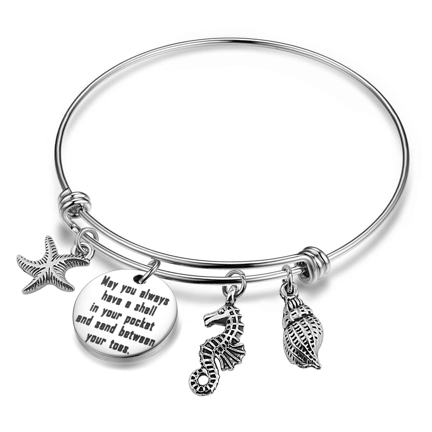 SEIRAA Beach Jewelry May you Always Have a Shell in Your Pocket and Sand Between Your Toes Expandable Charm Bracelet (bracelet)