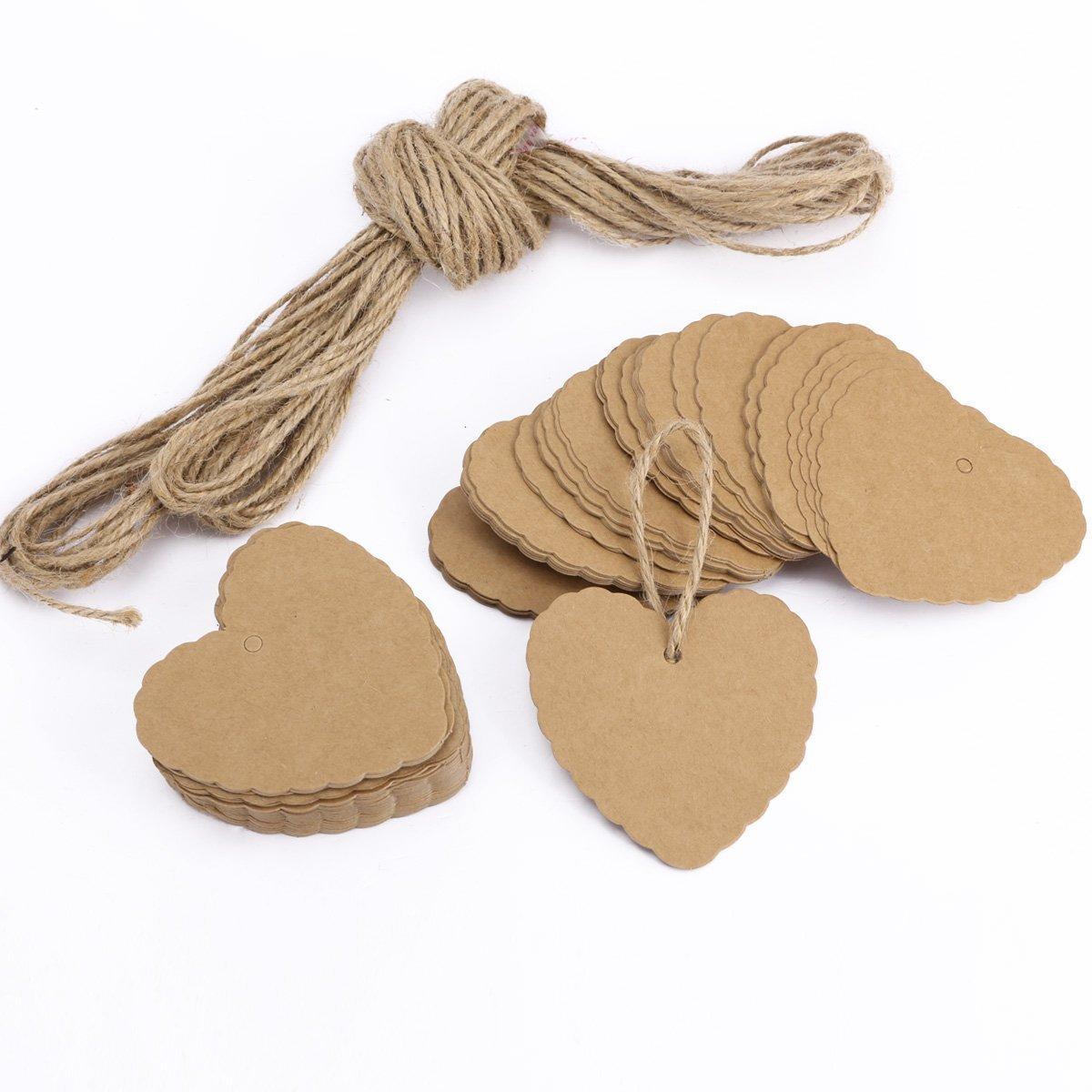 Kanggest. 100Pcs Papel Decorativo Papel Kraft Papel en Forma de Corazón Etiquetas de Regalo + 2M Cuerda de Cáñamo