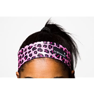 Fit Bandit, Non Slip Sports Headband for Exercise, Pink Leopard (Metallic Fabric)