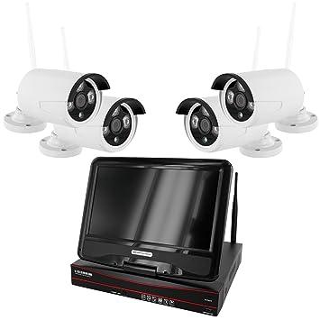 HaWoTEC 4 canales WiFi W de LAN HD NVR Red IP Vigilancia con pantalla 10,