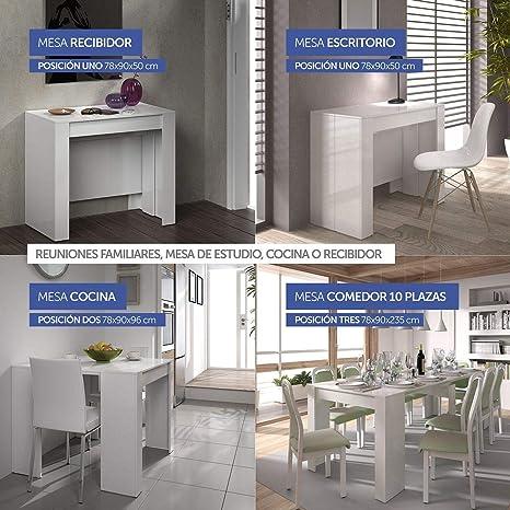 HABITMOBEL Mesa de Comedor Consola Extensible a 237 cm, Medidas Cerrada 90  x 78 x 51 cm