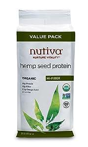 Nutiva Organic Cold-Pressed Raw Hemp Seed Protein Powder, Hi-Fiber, 30 Ounce   USDA Organic, Non-GMO   Vegan, Gluten-Free, Keto & Paleo   Plant Protein with Fiber & Essential Amino Acids