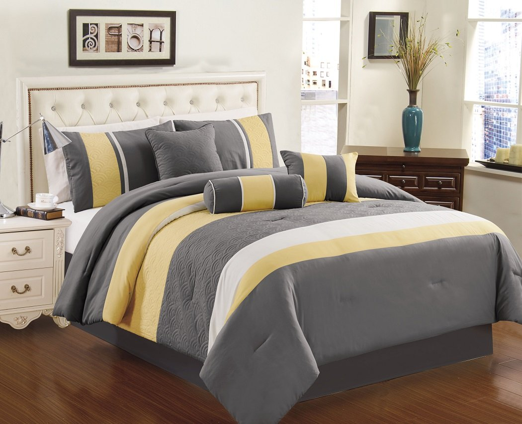 Chezmoi Collection 7-piece Sunvale Yellow Grey White Comforter Bedding Set
