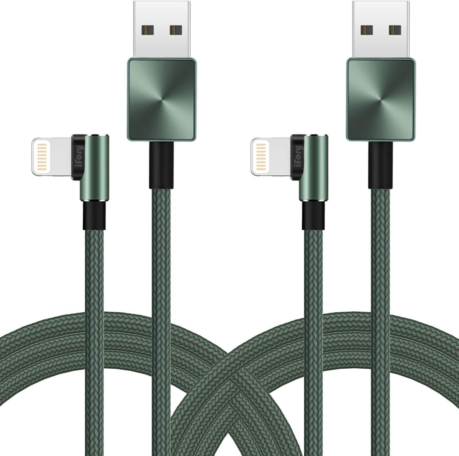 iFory Lightning Cable 90 Degree, iPhone Charger [Apple MFi Certified / 1ft 2 Pack/Green] Fast Charging Cord Compatible with iPhone 11 Pro Max, 11 Pro, X, Xs, Xr, Xs Max, 8/8 Plus, 7/7 Plus