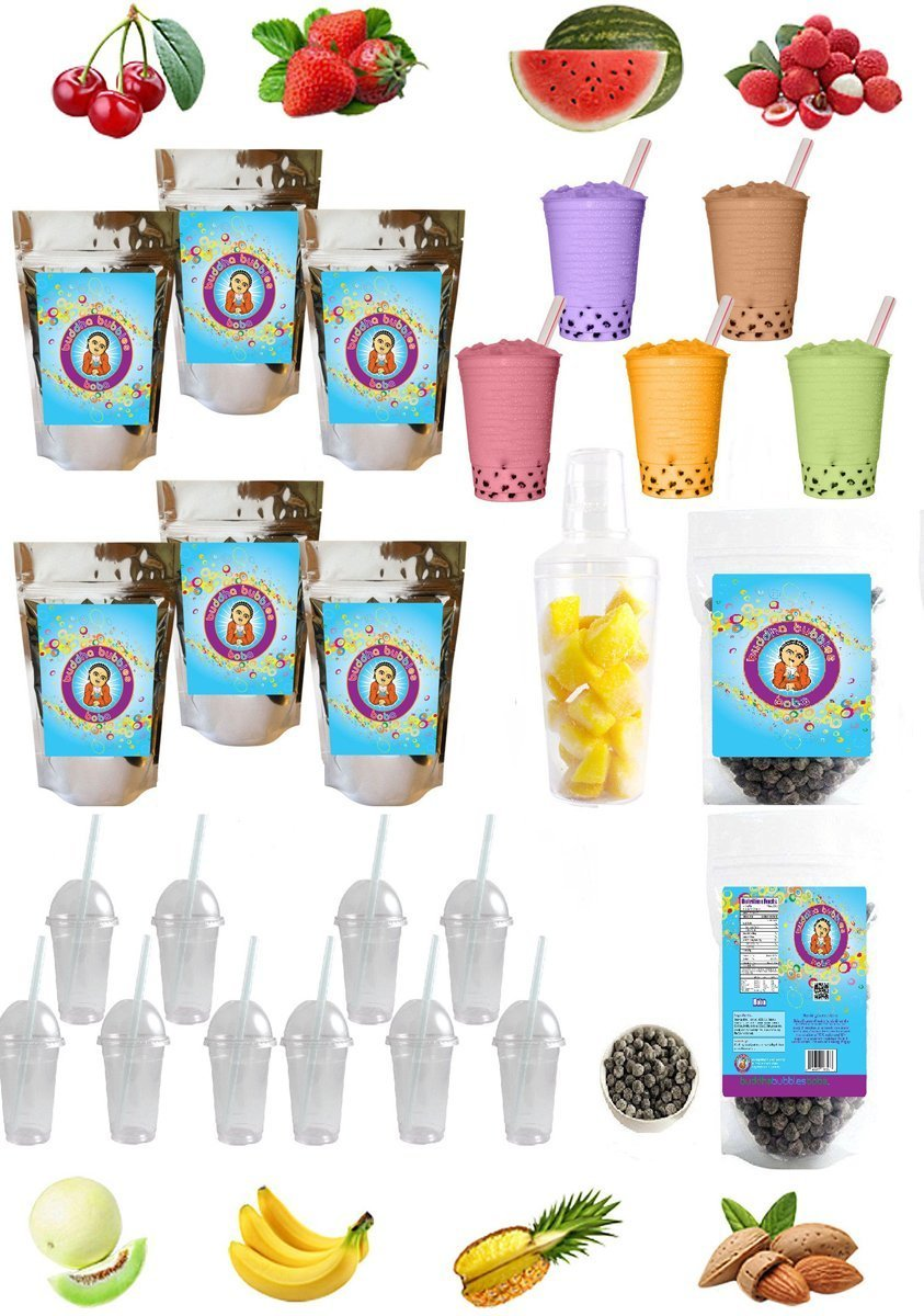 The ULTIMATE DIY Boba/Bubble Tea Kit, 60+ Drinks, 6 Flavors, Boba Pearls, Cups, Straws and Shaker Many Flavors (CUSTOM) by Buddha Bubbles Boba