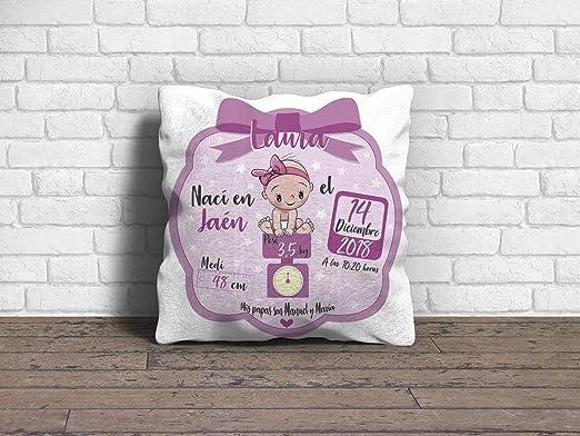 Cojín Bebe Recien Nacido Niña Rosa con Nombre 100 ...