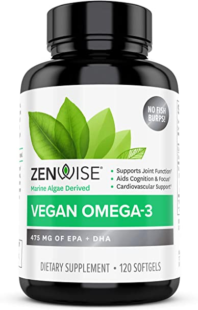 Zenwise Vegan Omega 3 Supplement - Fish Oil Alternative Source for EPA & DHA Fatty Acids - for Joint Support & Immune System - Heart & Skin + Brain Health Booster - Marine Algal Formula - 120 Softgels