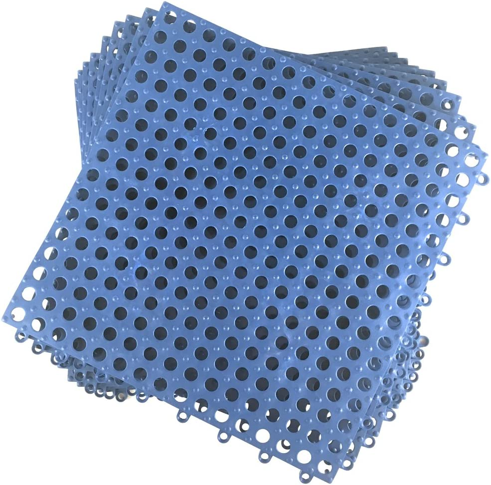 Set of 9 Interlocking Blue Rubber Floor Tiles- 11.75 inches Each Side - Wet Areas Like Pool Shower Locker-Room Bathroom Deck Patio Garage Boat. Can be Cut to fit- Mako Line - Foghorn Construction