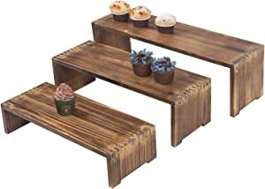 MyGift Dark Brown Wood Retail Display Risers, Set of 3