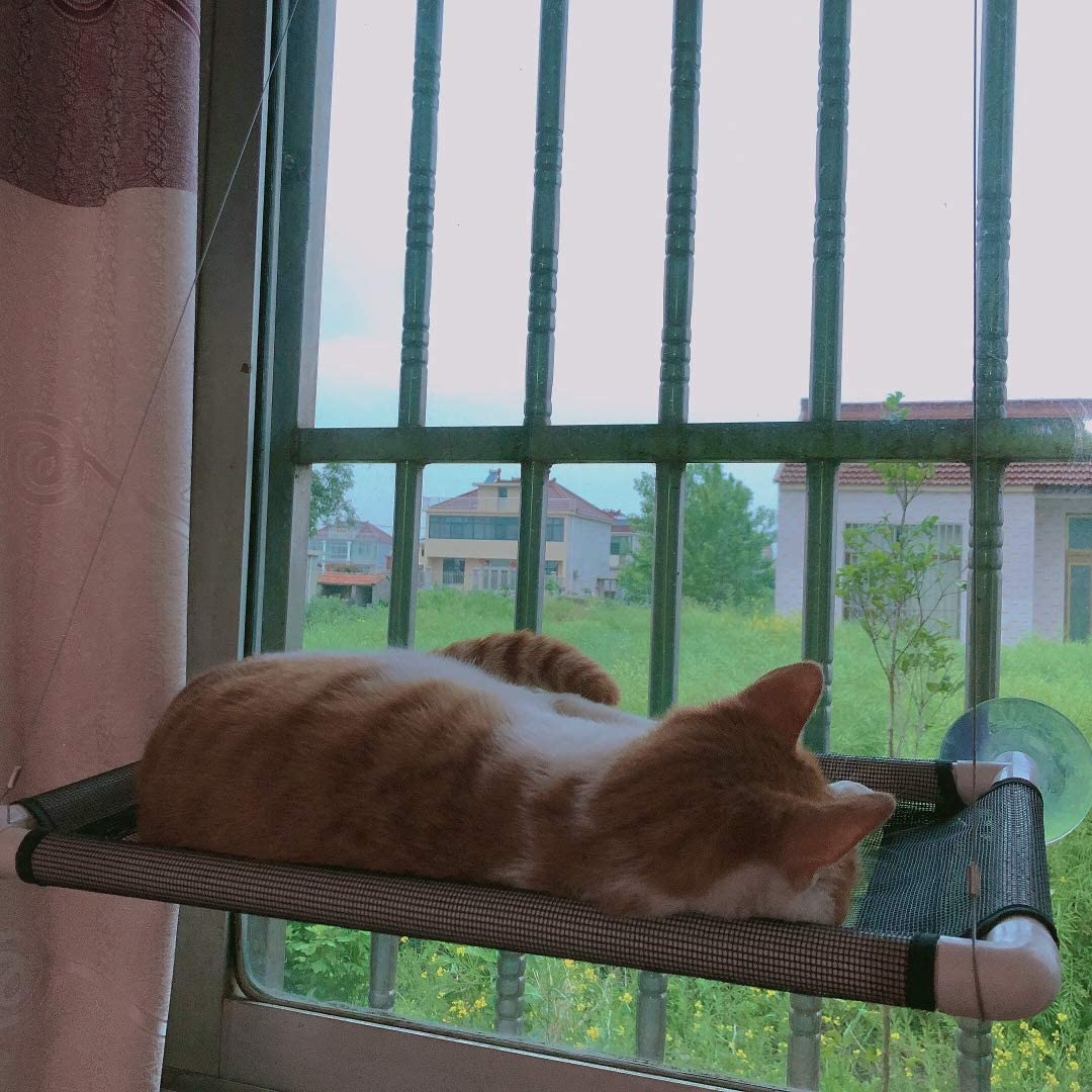 OneManProject Cat Window Perch,Cat Hammock with 4 Suction Cups Space Saving Kitty Resting Seat on Window Sunbath Holds Up to 40 lbs for Any Cat Size