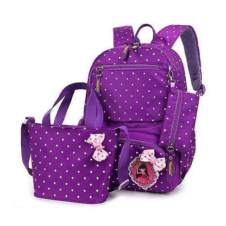 8fd47b6133 CUILEE 3pcs Pois Bambini Libro di Scuola Dello Zaino Del Sacchetto + ragazza  borsetta + borse