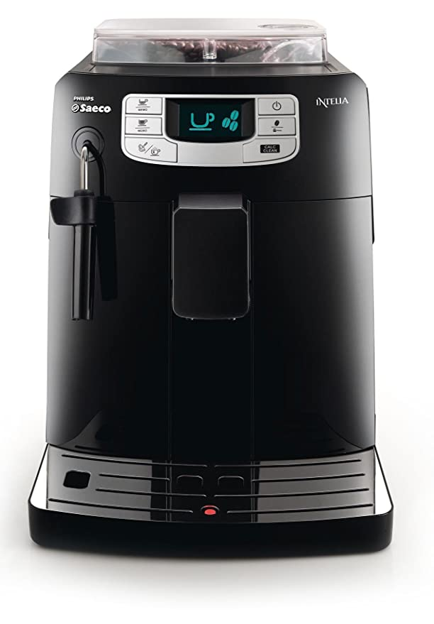 Saeco HD8751/11 - Cafetera Saeco Intelia espresso automática color negro, 1900W, espumador de leche, función de memoria, bandeja antigoteo