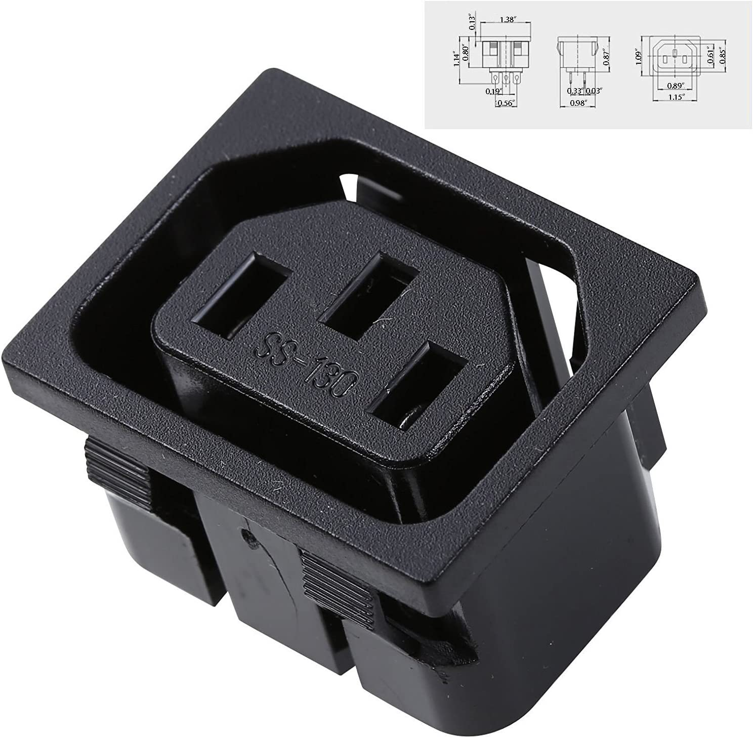 Universal Female Iec320 C13 Letter Base Connector Adapter Plug (pack Of 2) Home Audio & Theater