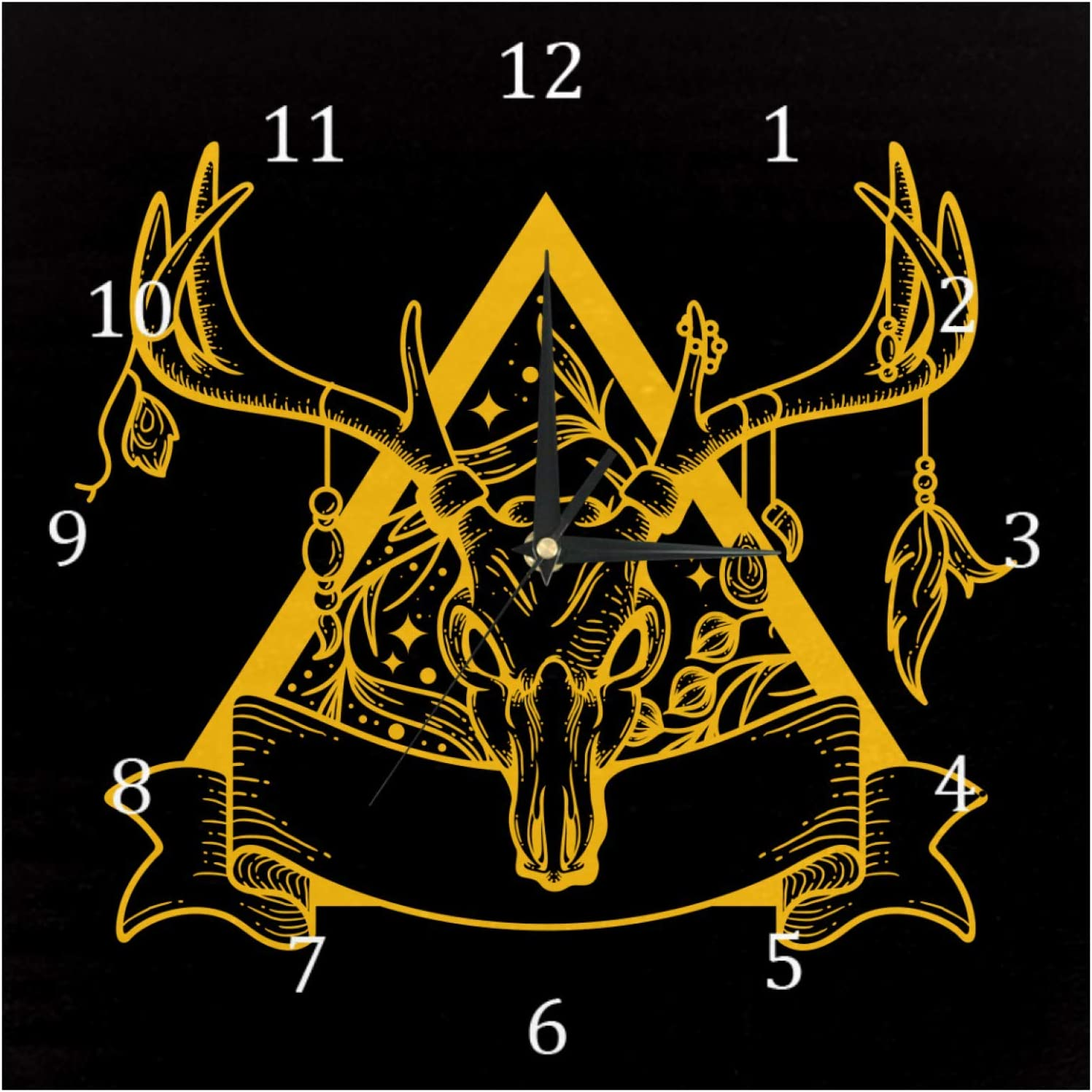 AISSO Wall Clocks Deer Skull Black Background Battery Operated Number Clock for Bedroom Living Kitchen Office Home Decor Silent & Non-Ticking