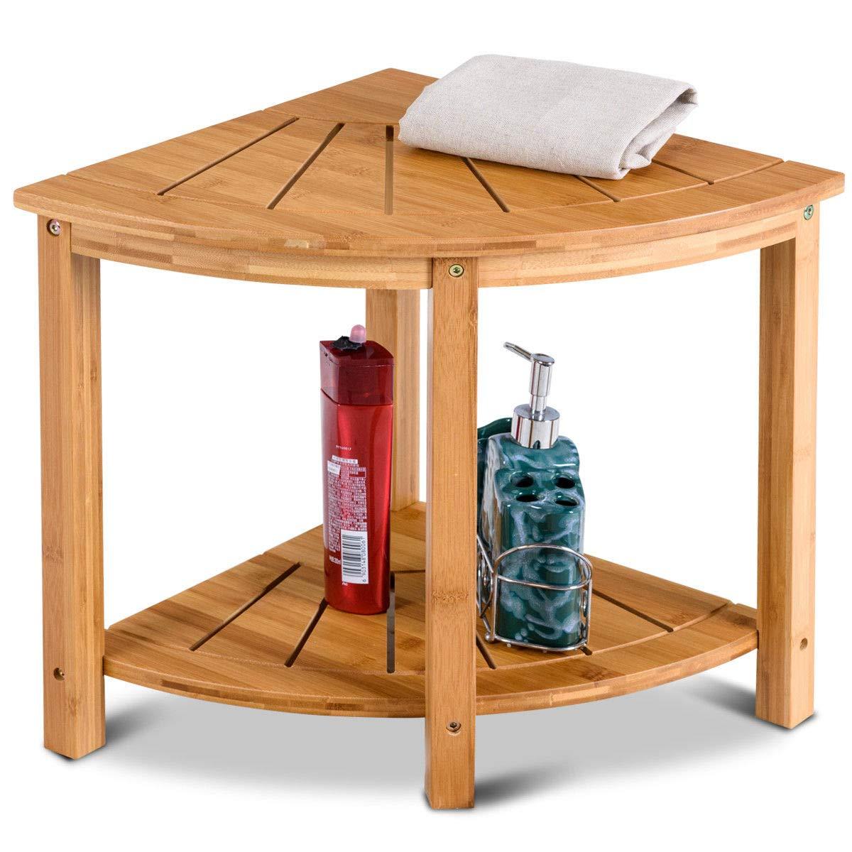 Shower Beach Bamboo Spa Seat Stool Bathroom Organizer with Storage Shelf Corner