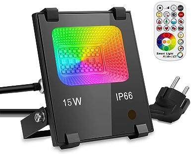 GIM - Foco LED para exteriores (cambia de color, RGB, para jardín, escenario, fiestas, iluminación ambiental), aluminio, Cambio de color RGB., Einzelpack: Amazon.es: Iluminación