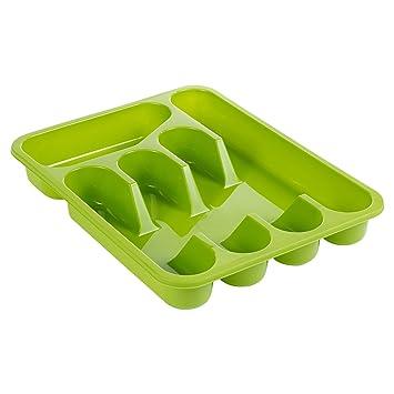 Organizador de cajón de cocina, bandeja de plástico para cubiertos,