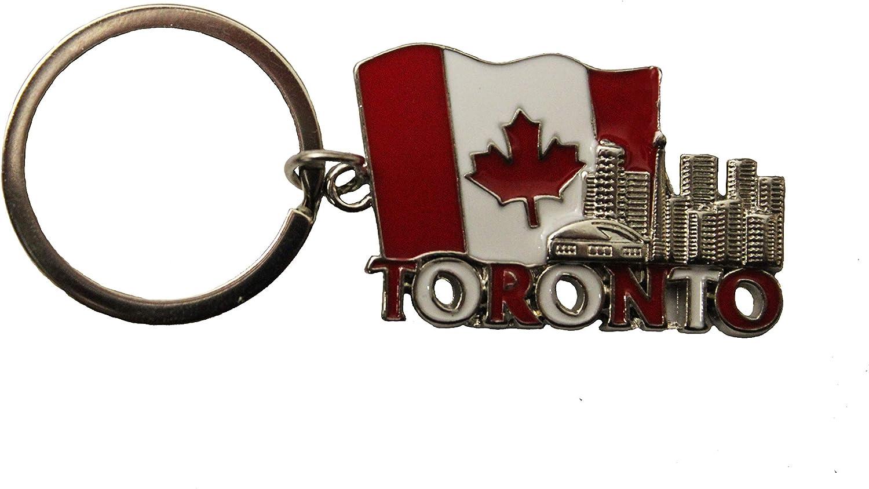 NEW TORONTO SKYLINE CANADA FLAG METAL KEYCHAIN  .