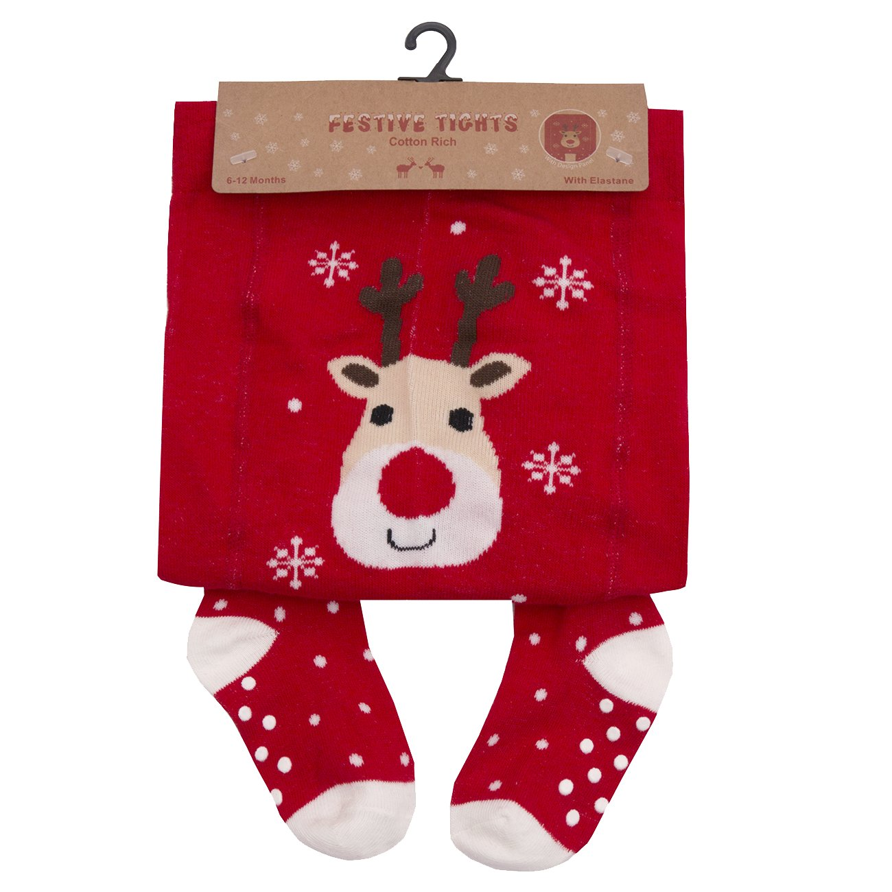 Baby Girls Novelty Festive Christmas Tights Santa Rudolph Stocking Filler 0-24 (18-24 MONTHS, RED RUDOLPH)