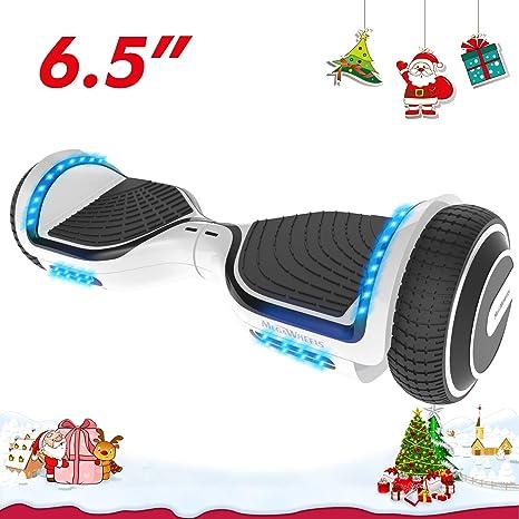 M MEGAWHEELS Scooter-Patinete Eléctrico Hoverboard, 6.5 Pulgadas con Bluetooth - Motor eléctrico 500w, Velocidad 10-12 Km/h.(White)