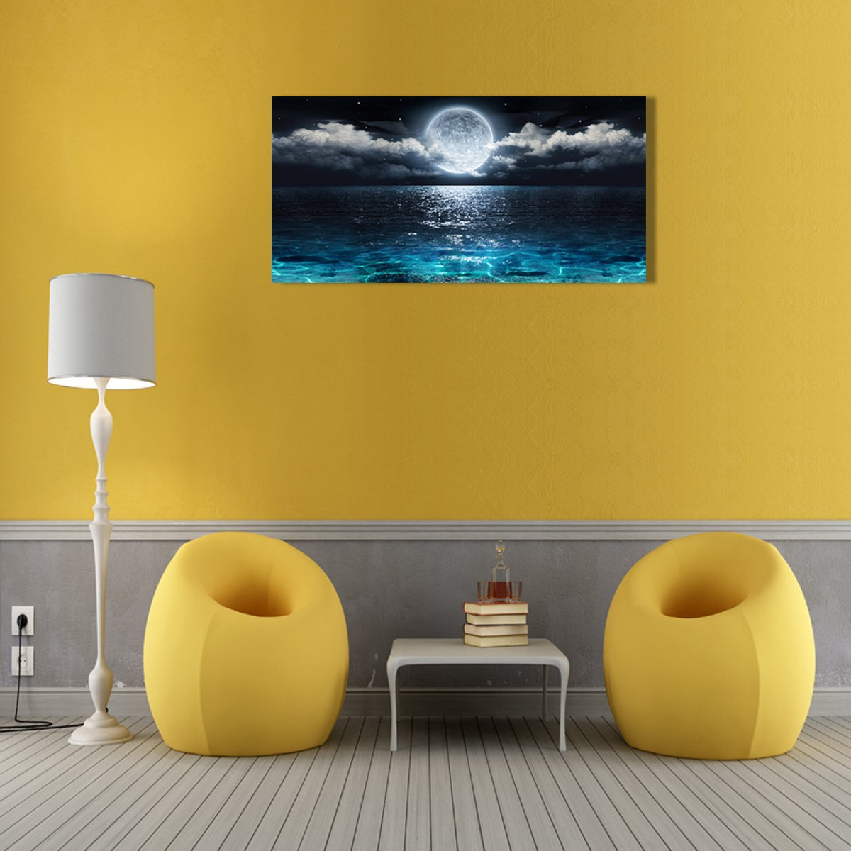 Wall Art Moon Sea Ocean Landscape Paintings Canvas Art Print ...