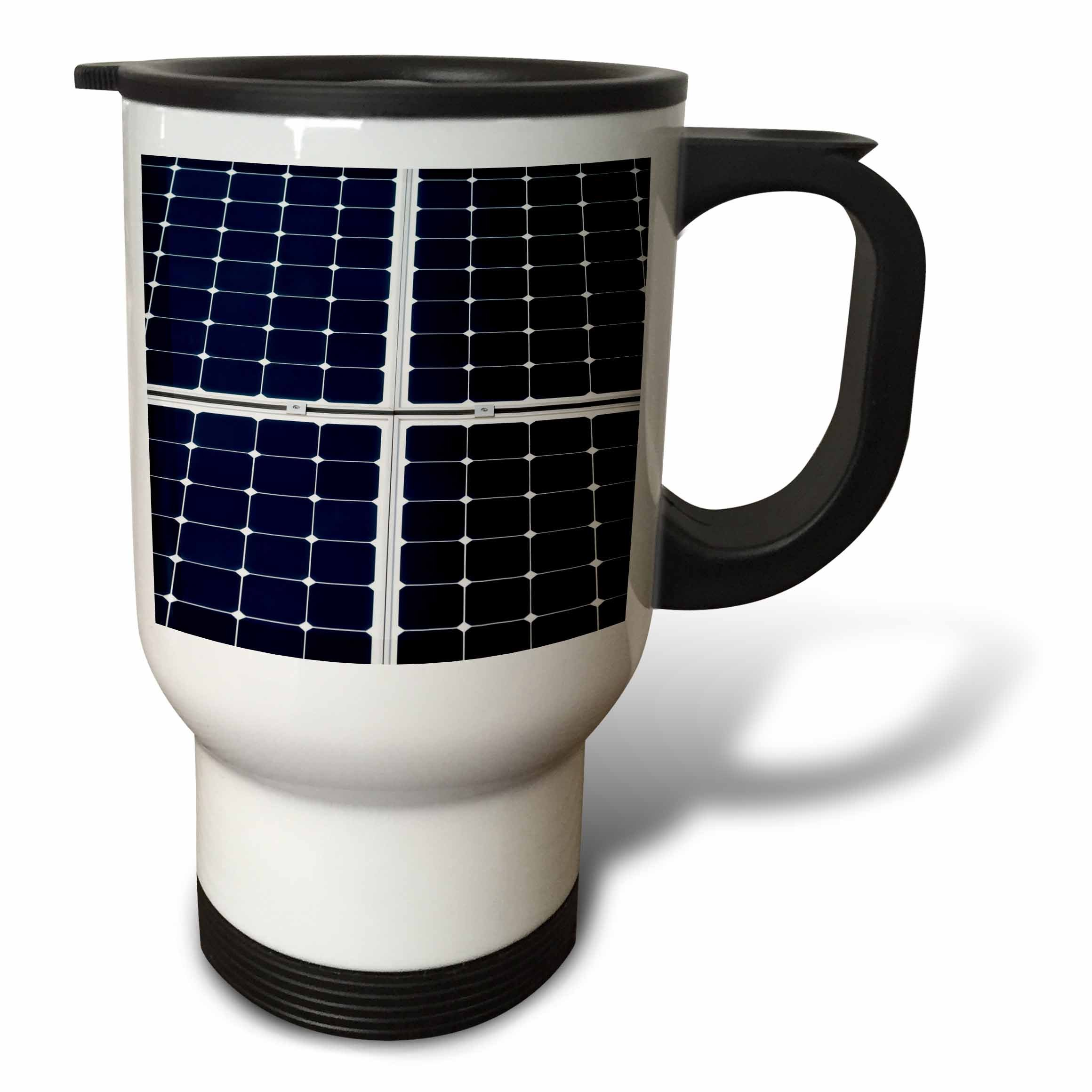3dRose Alexis Photography - Objects - Dark blue solar power panel divided into four parts by white frames - 14oz Stainless Steel Travel Mug (tm_271345_1)