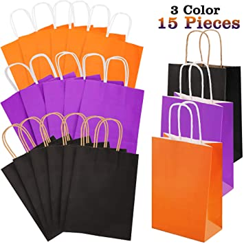 Amazon.com: 15 bolsas de papel de Halloween de colores con ...
