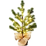 EAMBRITE LED Pine Needle Tree Light – 1.5FT Realistic Mini Christmas Tree – Pre-lit Pine Needle Tree with 36lt Warm White Fairy Lights – Lighted Artificial Tree with 12 Branches