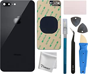 Vimour Back Glass Replacement for iPhone 8 Plus 5.5 Inches All Carriers with Pre-Installed Camera Lens, Bracket, Adhesive and Repair Tool Kits (Black)