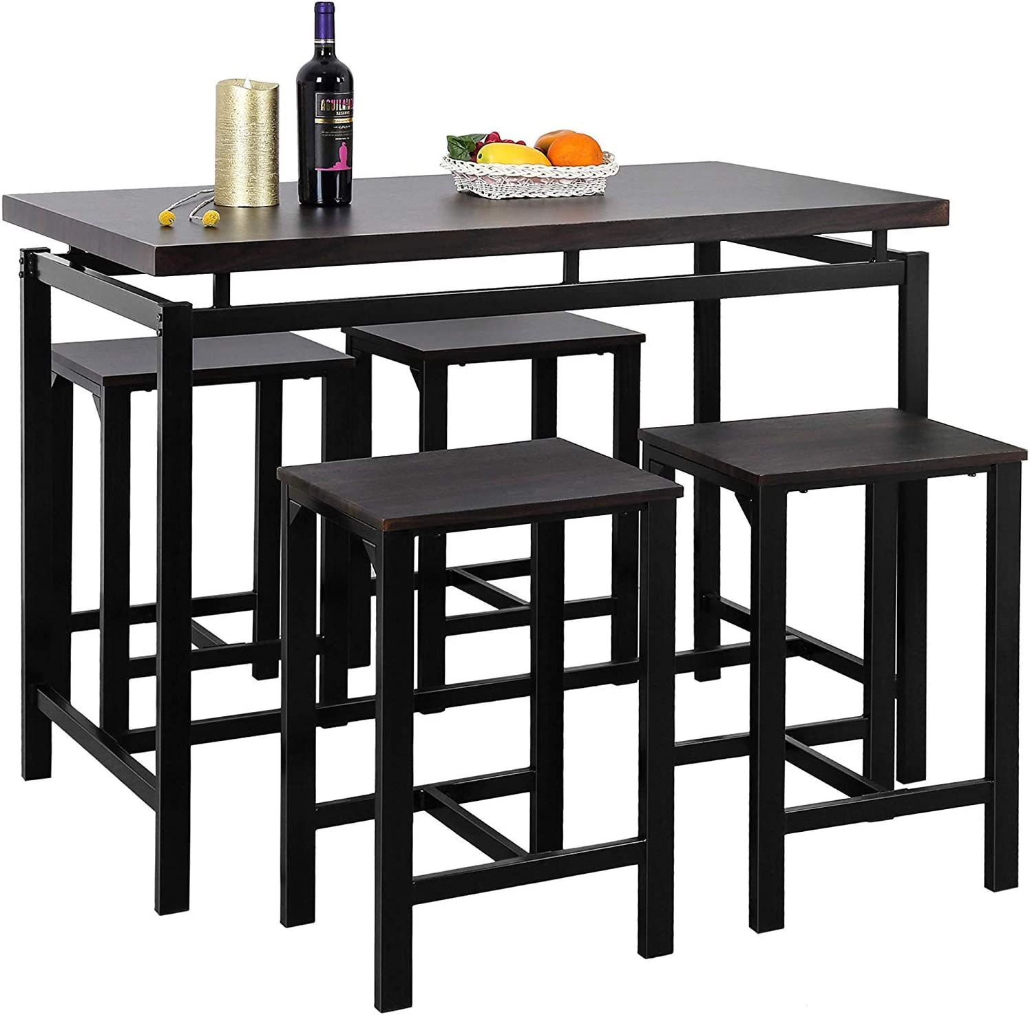 MOOSENG, 5 Pieces Dining Set, Wood Elegant Pub Height Table and 4 Backless Stools, Perfect for Bar, Kitchen, Breakfast Nook, Living Room Occasions, Espresso