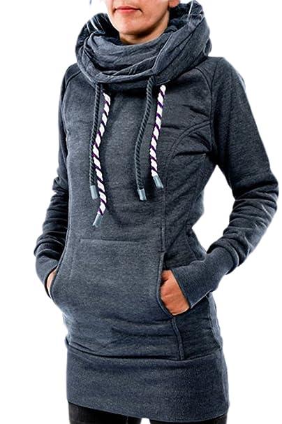 Women s Casual Cuello Chimenea Hoodies Long Pullover Sudaderas con Bolsillo Canguro Plus Size: Amazon.es: Ropa y accesorios