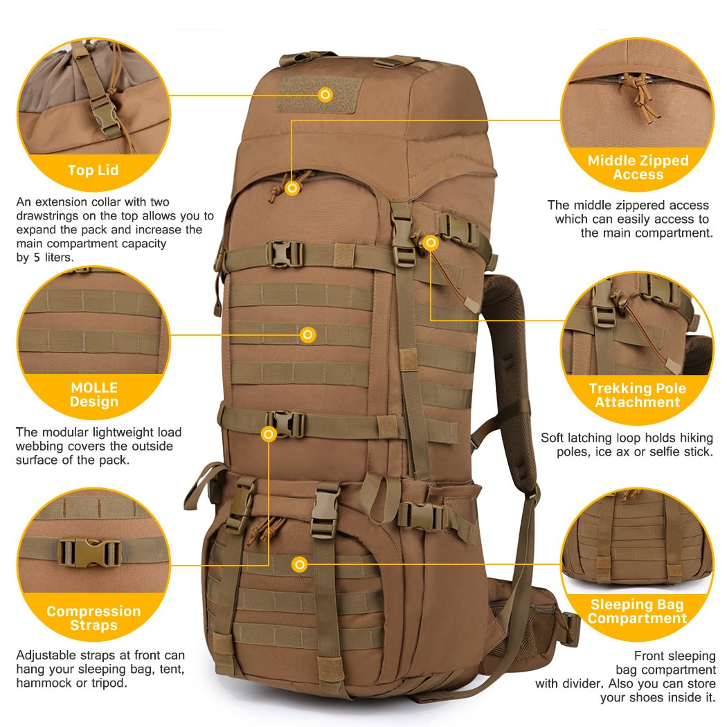 Mardingtop 65L Internal Frame Backpack Tactical Military Molle Rucksack