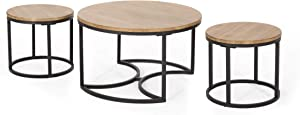 Christopher Knight Home Roberta Coffee Table Set, Antique Brown, Black