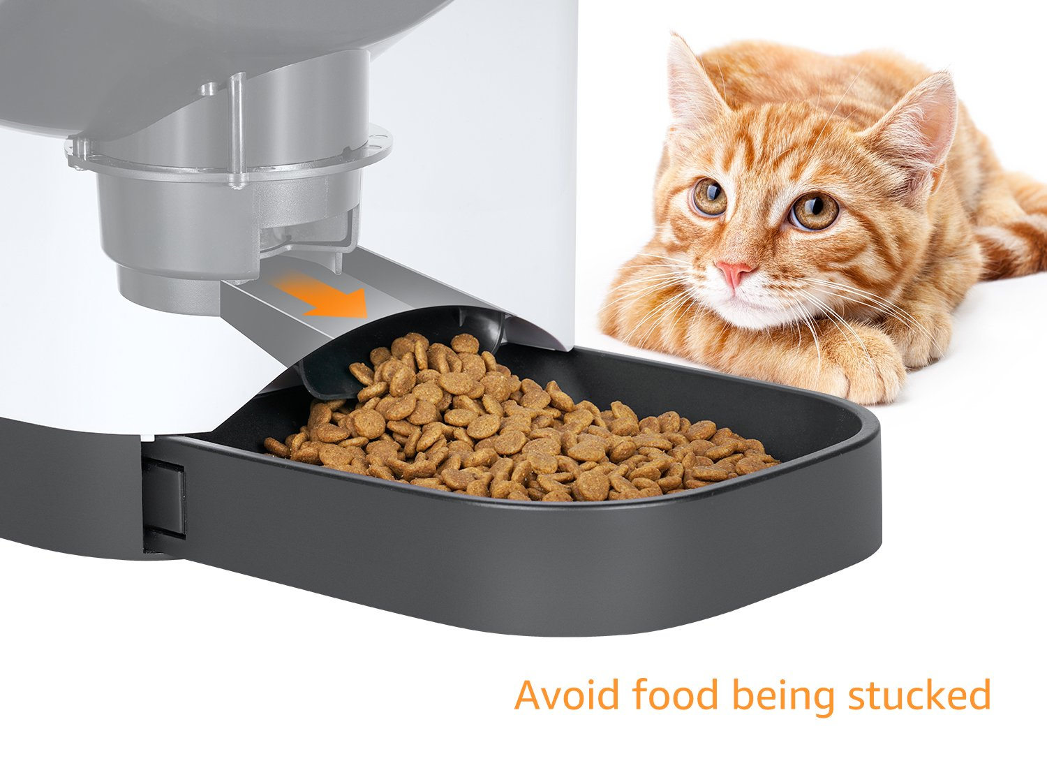 Smart Automatic Cat Feeder - SUKI&SAMI Pet Food Dispenser, with Timer Programmable, Voice Recording, WI-FI Enabled APP control Up to 8 Meals a Day by SUKI&SAMI (Image #4)