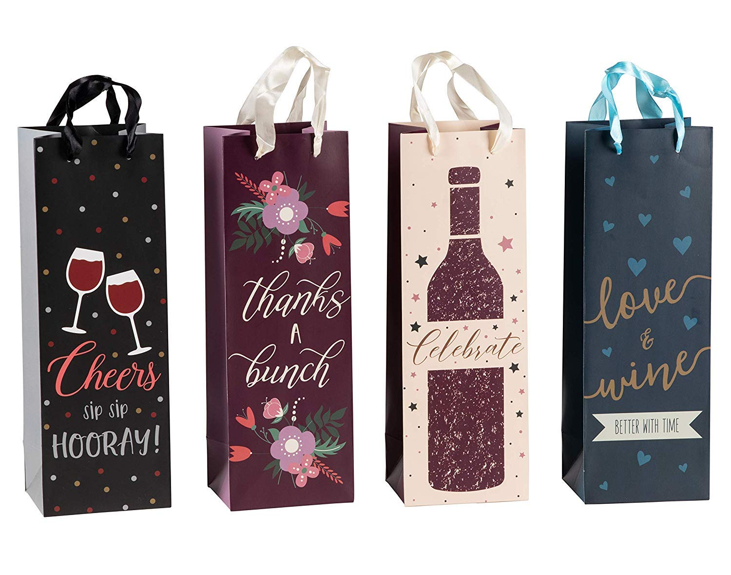 Wine Bags Bulk- 12-Pack Wine Gift Bags for Housewarming, Birthday, Anniversary, Wedding, Dinner Party,...