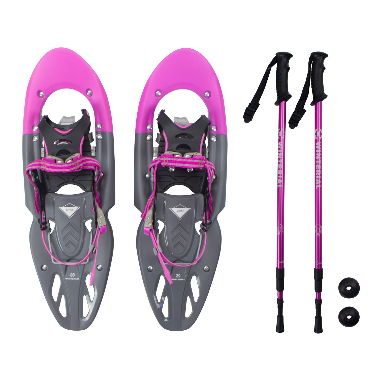 Winterial Yukon Snowshoes 2018/Advanced/Backcountry/Snowshoeing/Women/Pink/All Terrain Snow shoes/POLES INCLUDED! by Winterial