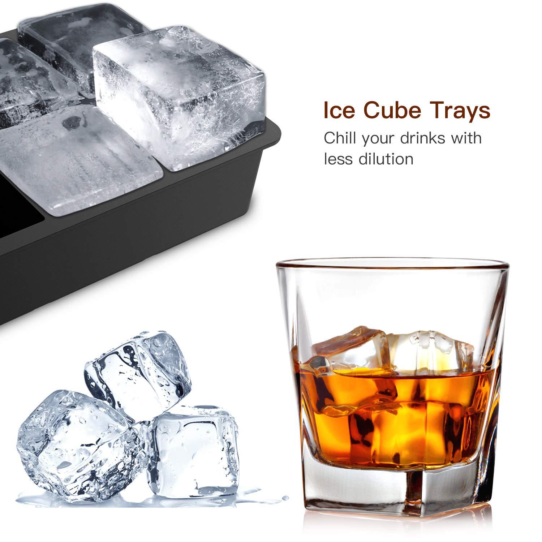 FYLINA Eisw/ürfelform Silikon Eiswuerfel Form 2er XXL 60mm Eiskugelform 50mm 6-Fach Eisw/ürfelbeh/älter mit Deckel Aufbewahren W/ürfel Eisw/ürfel BPA Frei Ice Cube Tray f/ür Familie Partys