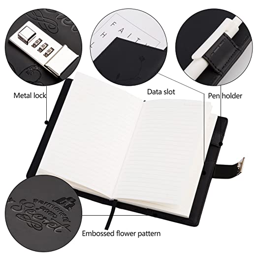 Lock Diary Leather Locking Journal Writing Notebook Vintage Lock Planner Agenda Personal Diary Black