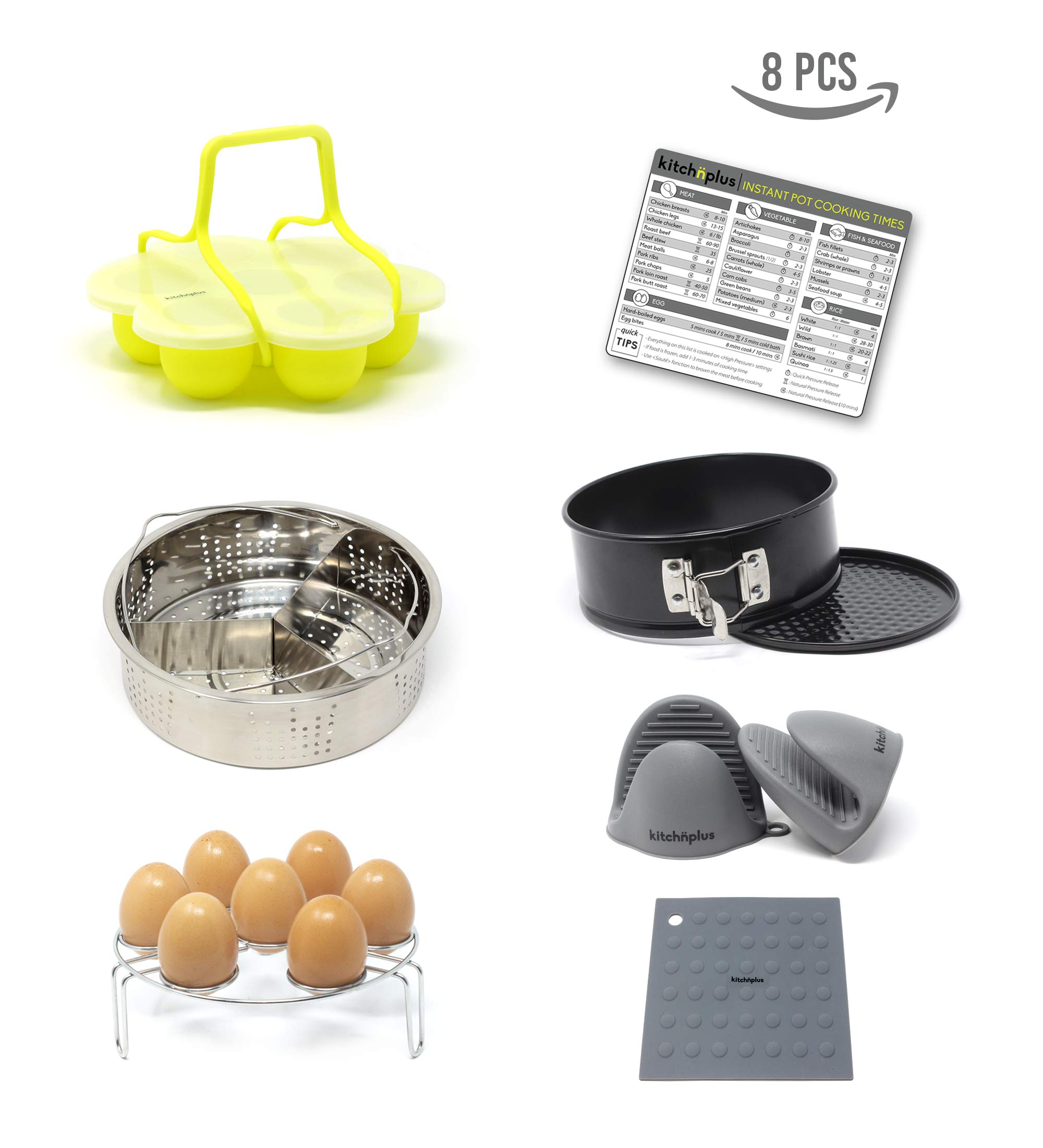 Kitchnplus - 8 pieces - Instant Pot Accessories Set + Bonus Cooking Times Sheet - Fits Instant Pot 5,6 and 8 Qt - Premium Quality Products : Egg Bites Mold + Handle, Springform Pan, Steamer Basket + Divider, Egg Rack, Silicone Oven Mitts, Silicone Trivet