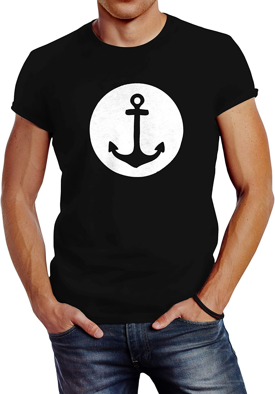 läßiges Damen T-Shirt mit Anker Motiv Mond Slim Fit Neverless®