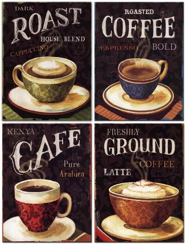 Amazon Com My Easy Art Coffee Cafe Wall Art Kitchen Decor Retro Dark Cappuccino Latte Coffee With Letters In Vintage Style Canvas Pictures Artwork Modern 4 Panel Painting Prints For Living Dining Room