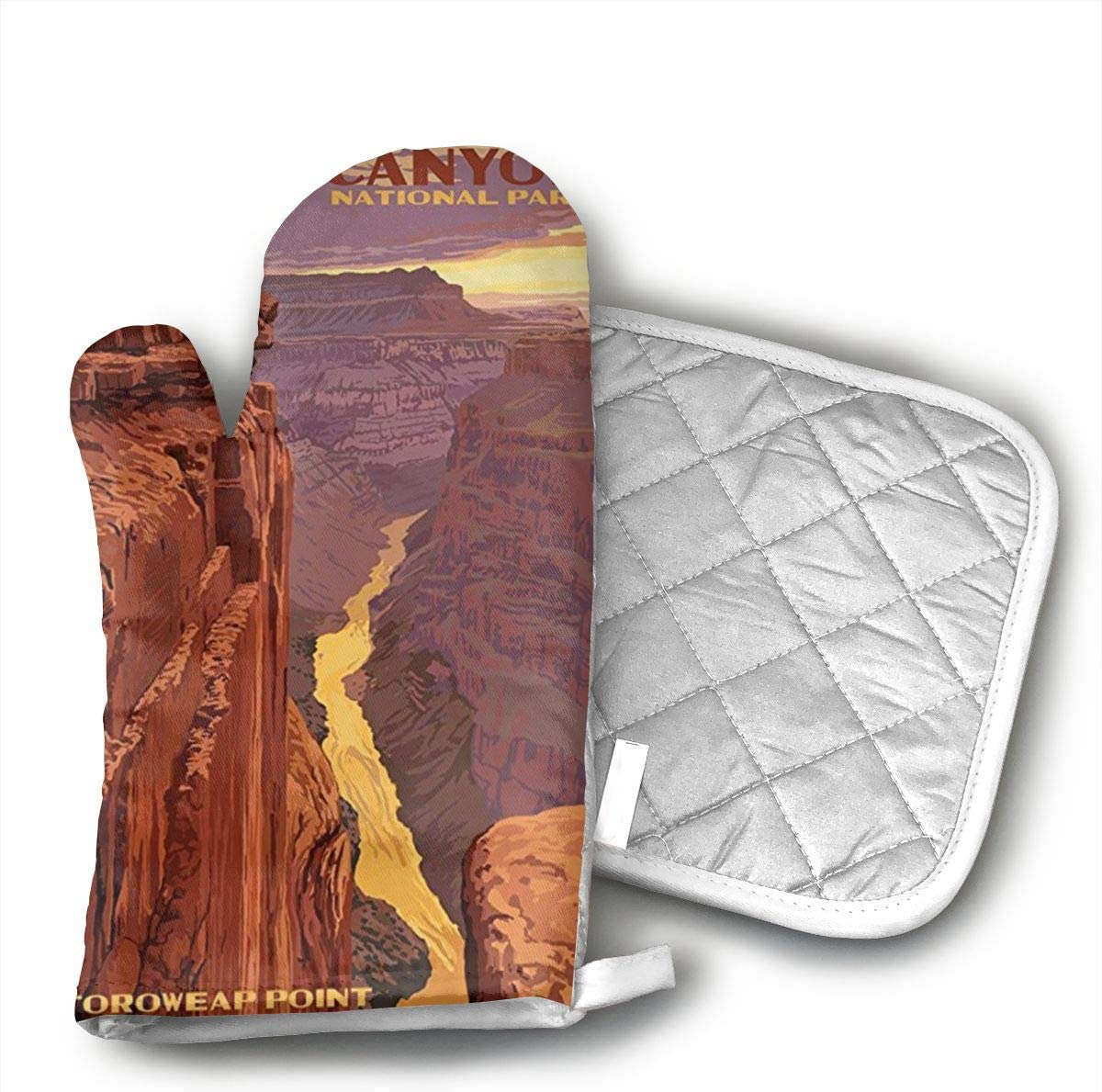 not Grand Canyon National Park - Toroweap Point Oven Mitts,Professional Heat Resistant Microwave Oven Insulation Thickening Gloves Soft Inner Lining Kitchen Cooking Mittens