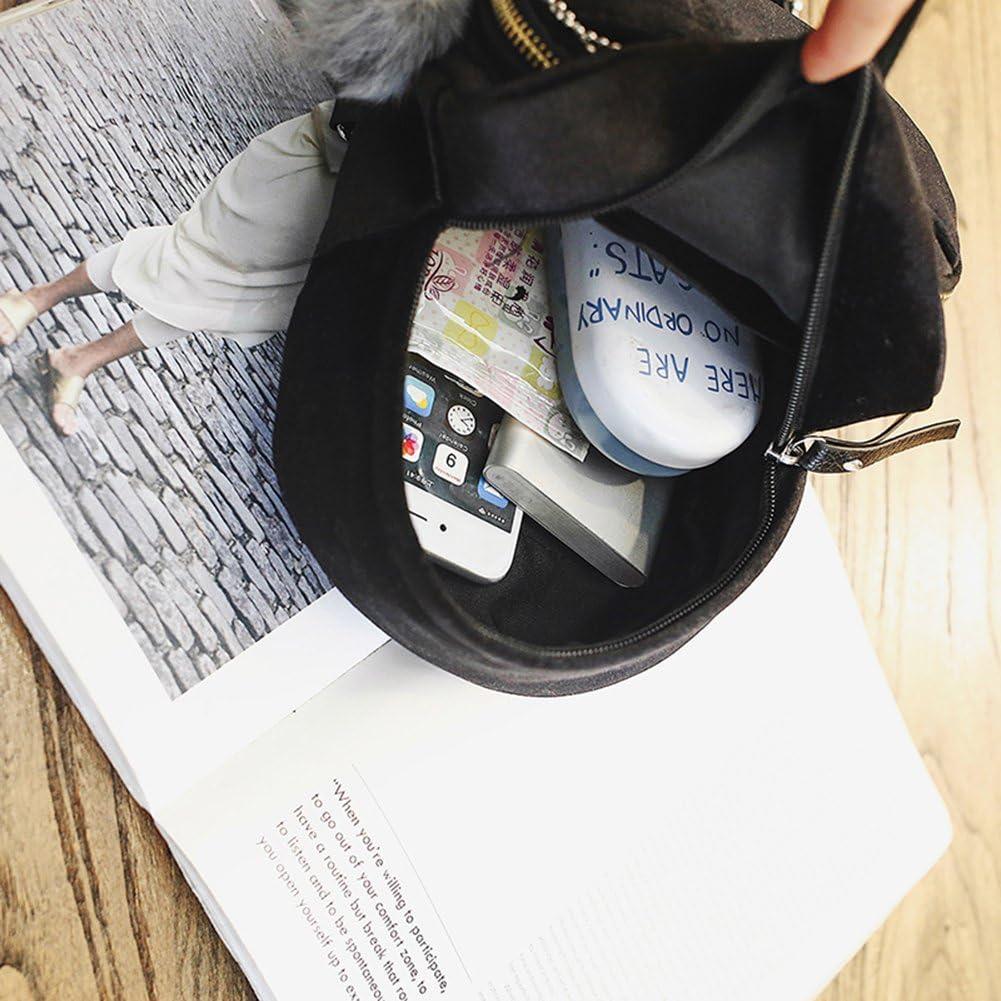 FinancePlan Womens Faux Leather Backpack Simple Fur Ball Shoulder School Travel Bag Rucksack