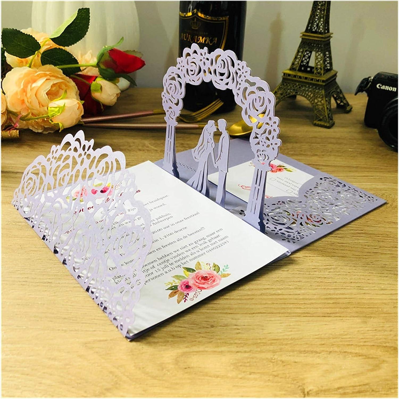 Tarjeta de Felicitación □ (10pcs / Lote) 3D Pop-up Blanco Tarjeta de invitación de Boda TTI-plegada Bolsa de Corte de Novia y Novio Saludo Invitación Tarjetas