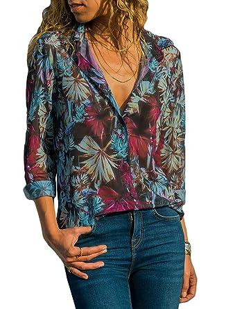 Chemisier T En Shirt Mousseline Manches Longues Fiyote Femme Blouse EHDeW29IY